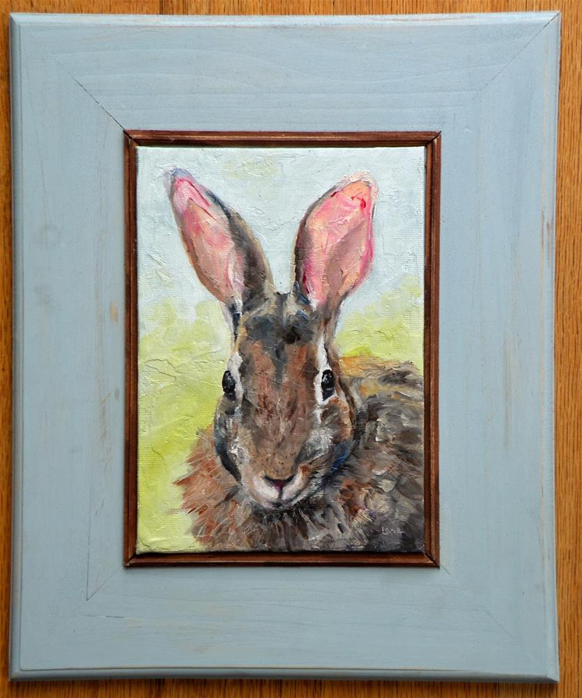 """""""BUNNY FACE is now FRAMED and in my ETSY shop!  © SAUNDRA LANE GALLOWAY"""" original fine art by Saundra Lane Galloway"""