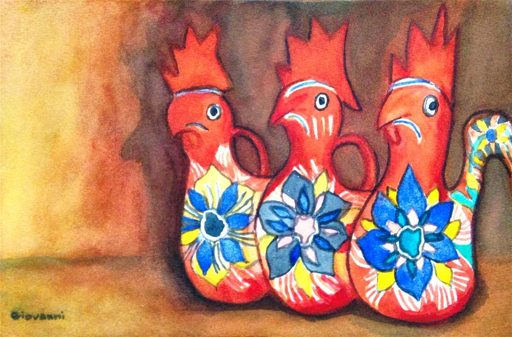"""Parade of Gallos de Barro (Ceramic Chickens)"" original fine art by Giovanni Antunez"