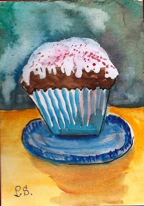 """""""ACEO Cupcake Love with Sprinkles Food Still Life Watercolor by Penny StewArt"""" original fine art by Penny Lee StewArt"""