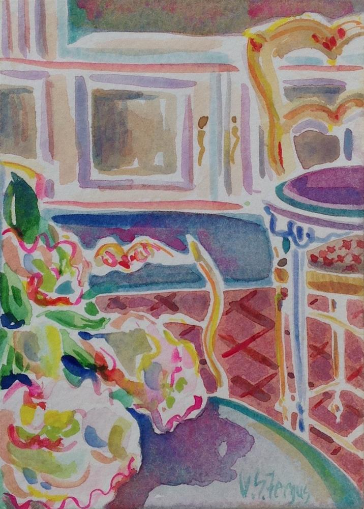 """""""French Chairs and Peonies"""" original fine art by Virginia Fergus"""
