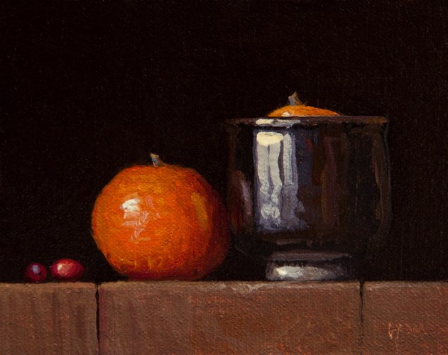 """Two Cranberries, Two Tangerines (Yin & Yang)"" original fine art by Abbey Ryan"