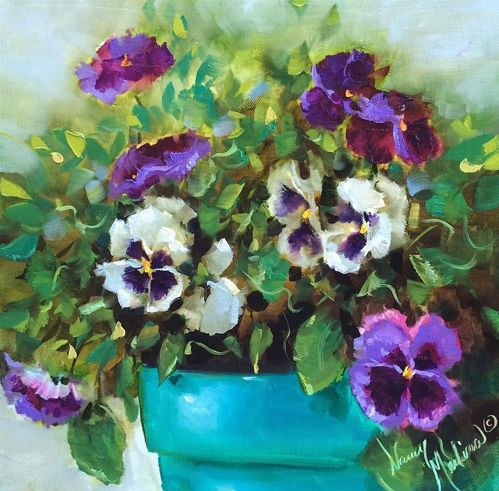 """A New Pansy Video! Pansy Starlets - Flower Paintings by Nan"" original fine art by Nancy Medina"