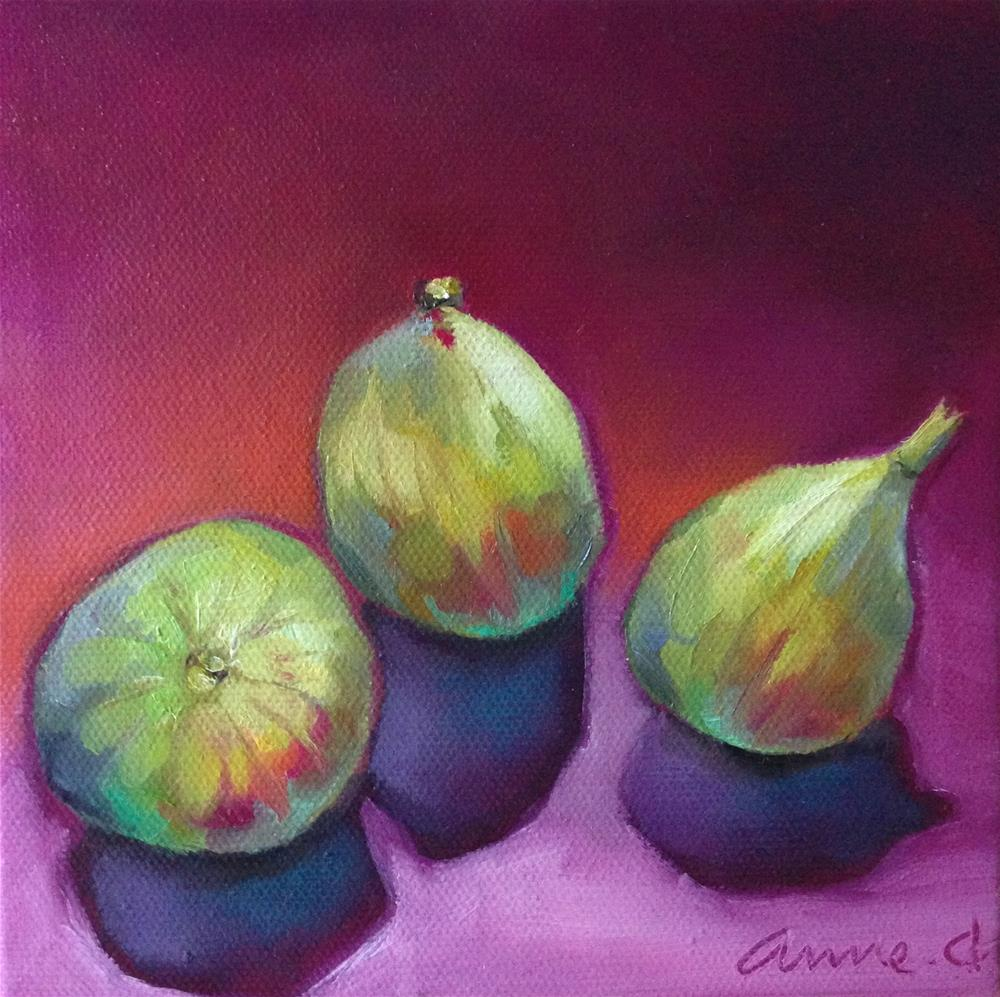 """""""Three Figs Ready for Halloween"""" original fine art by Anne Ducrot"""