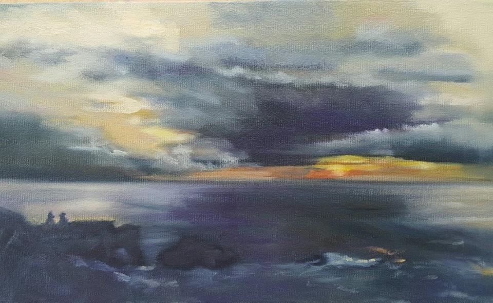 """Sunrise over Sydney"" original fine art by Rentia Coetzee"