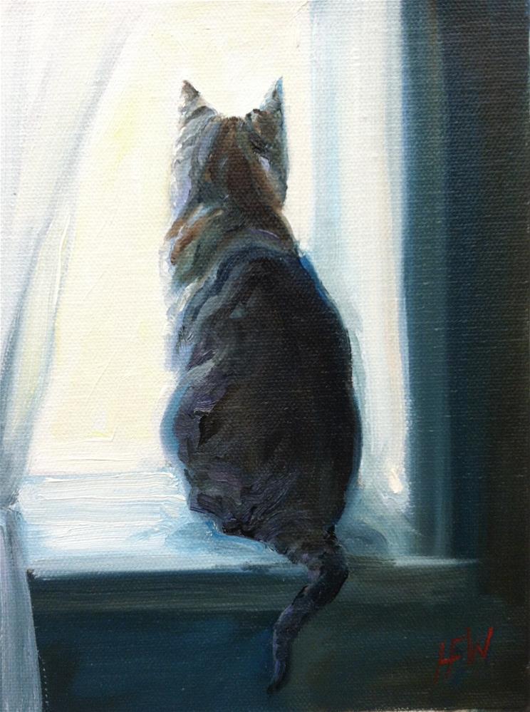 """""""Tabby in the Window"""" original fine art by H.F. Wallen"""