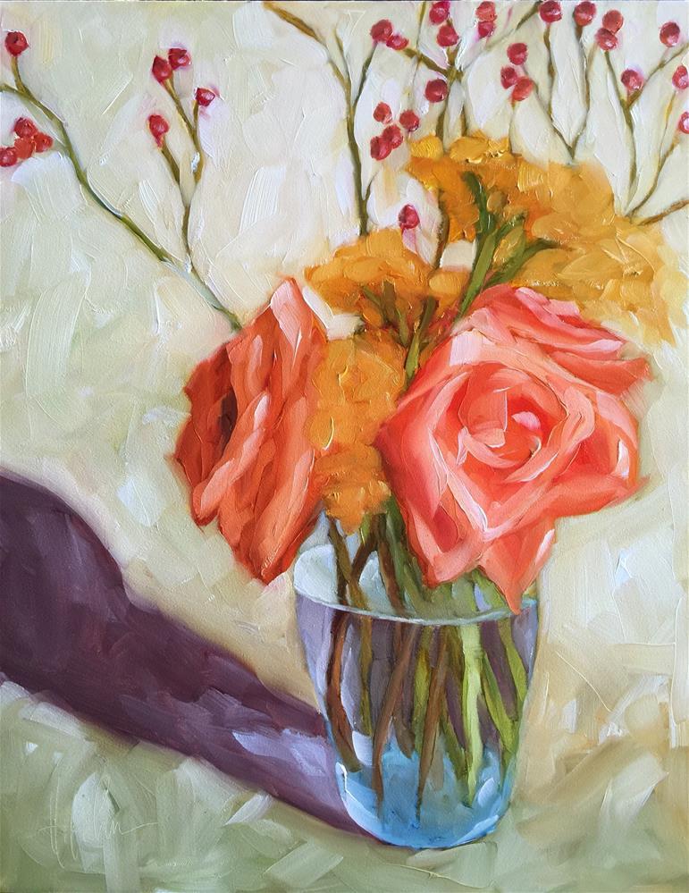 """Roses, Farrow & Bittersweet"" original fine art by Hallie Kohn"