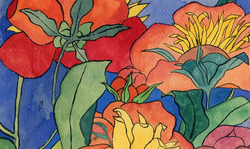 """""""Abstract Flowers"""" original fine art by Ria Hills"""