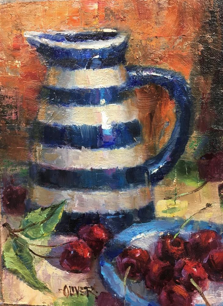 """The Striped Pitcher"" original fine art by Julie Ford Oliver"