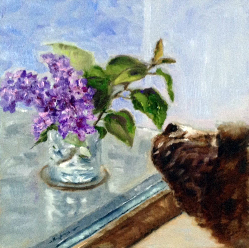 """Tallulah and the Lilacs"" original fine art by Shelley Koopmann"
