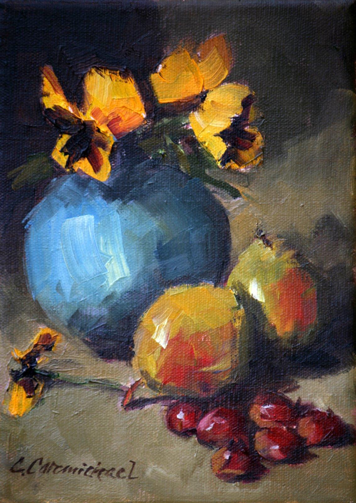 """""""Pansies in blue vase"""" original fine art by Carol Carmichael"""