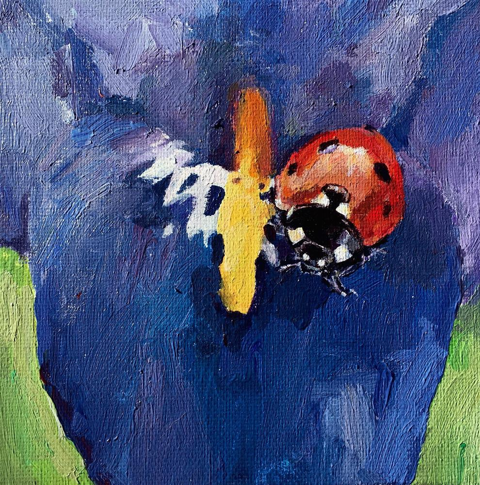 """Iris and the Ladybug"" original fine art by Nava Judith"