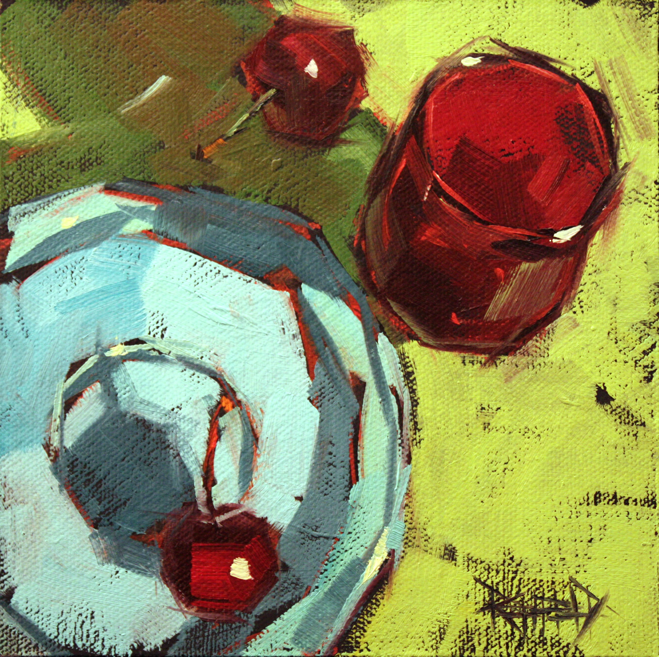 """Cherry Colored Glass"" original fine art by Cathleen Rehfeld"