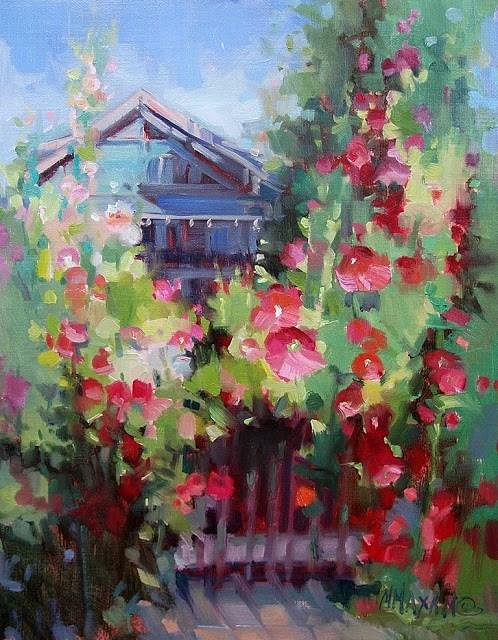 """Cottage Hollyhocks"" original fine art by Mary Maxam"