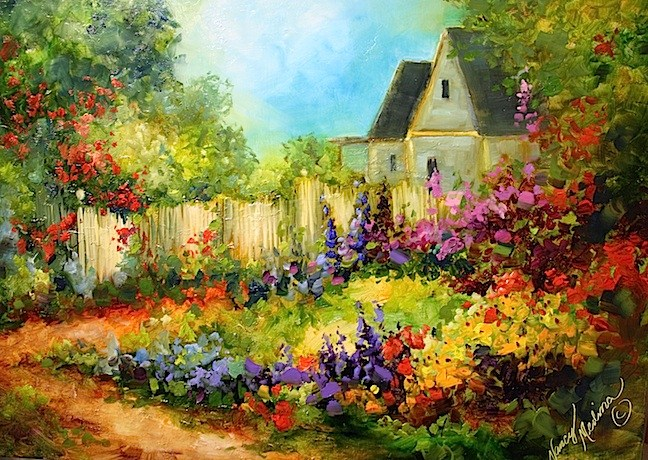 """Tranquility Cottage Garden by Texas Flower Artist Nancy Medina"" original fine art by Nancy Medina"