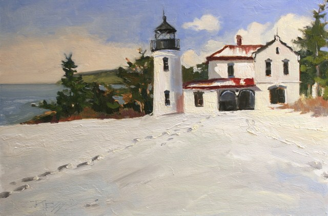 """Admiralty Head Lighthouse, Fort Casey, Whidby Island , plein air painting by Robin Weiss"" original fine art by Robin Weiss"