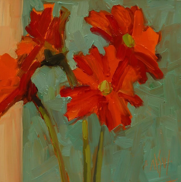 """""""You Gotta Have Friends 6x6 oil on panel. Love Gerbera daisies and this is one of my favorite color combos."""" original fine art by Mary Sheehan Winn"""
