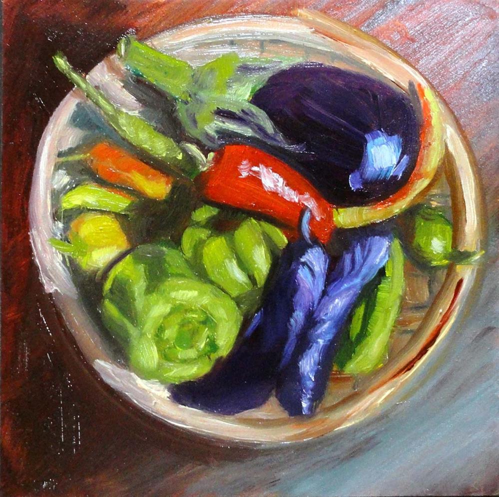 """Eggplants & Peppers"" original fine art by Cietha Wilson"