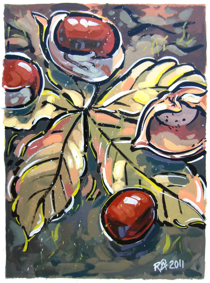 """Horse-chestnuts on the ground"" original fine art by Roger Akesson"