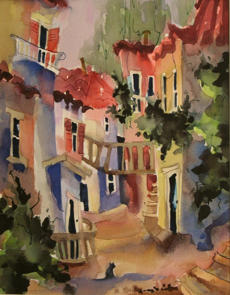 """""""The Cat's Alley"""" original fine art by Jinnie May"""