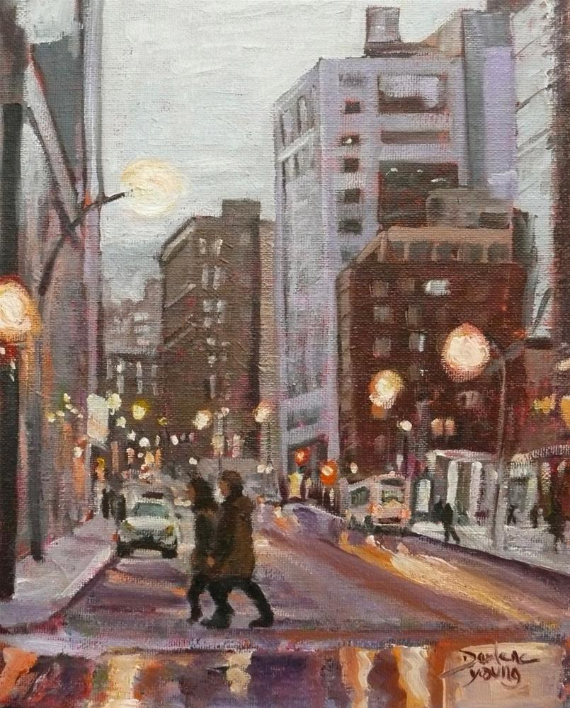 """1118 Rainy Night, Guy Concordia, Montreal, 8x10, oil on board"" original fine art by Darlene Young"