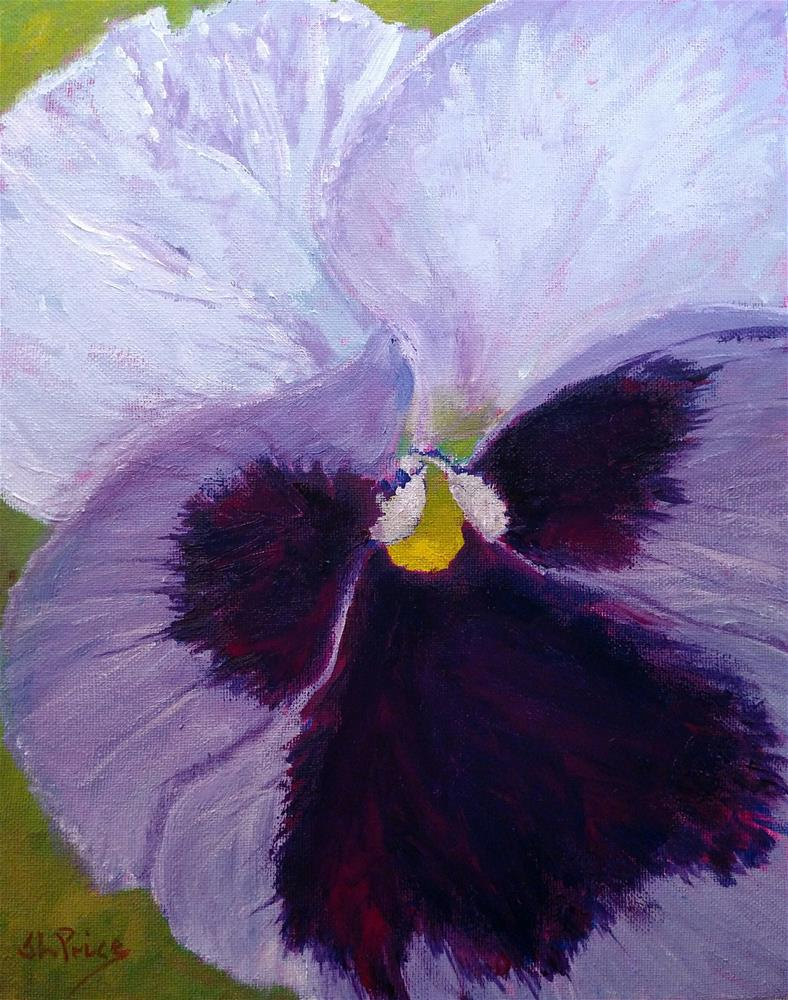 """Purple and White Pansy I"" original fine art by S. Lynne Price"