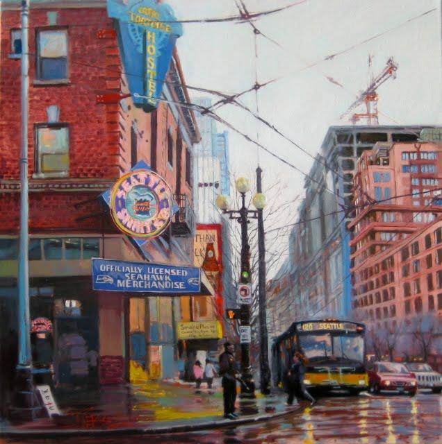 """""""The Great Tortoise Hostel  Seattle city scenes"""" original fine art by Robin Weiss"""