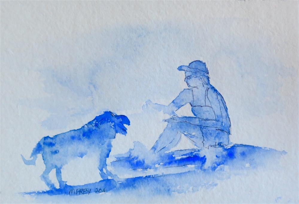"""Lady And Dog 0119"" original fine art by Michelina Frey"