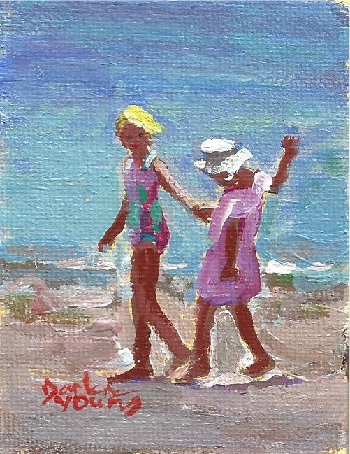 """930 Beach Kids, oil on board, 2.5x3.5"" original fine art by Darlene Young"