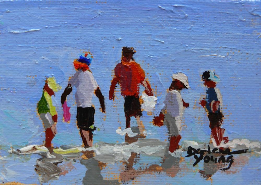 """""""870 Beach Boys, oil on board, 2.5 x 3.3"""" original fine art by Darlene Young"""