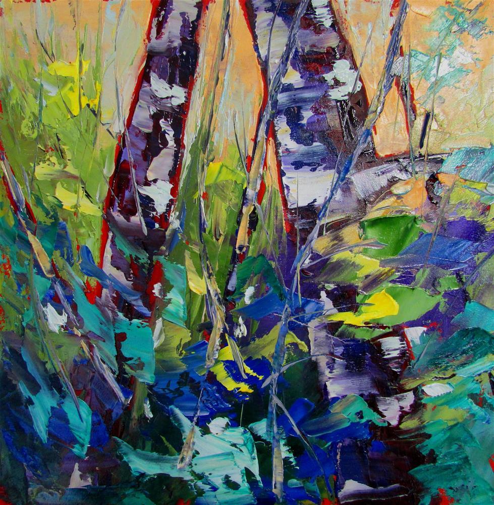 """""""8 x 8 inch oil Little Birches #4"""" original fine art by Linda Yurgensen"""