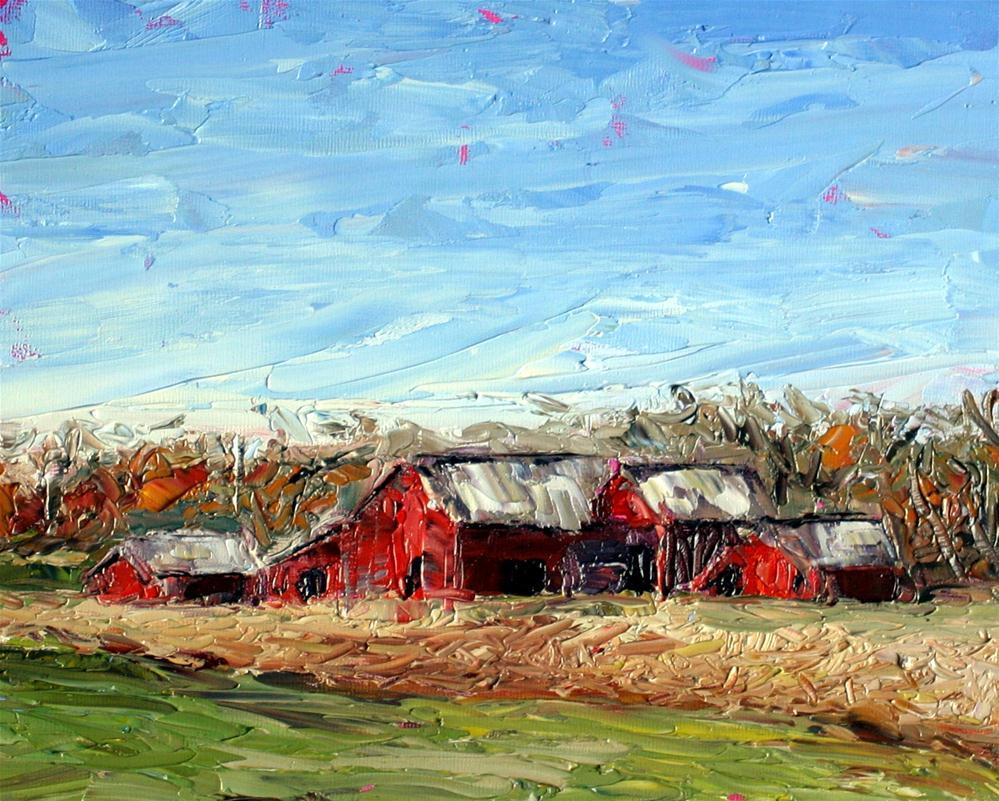 """""""Red Barns"""" original fine art by Kristen Dukat"""