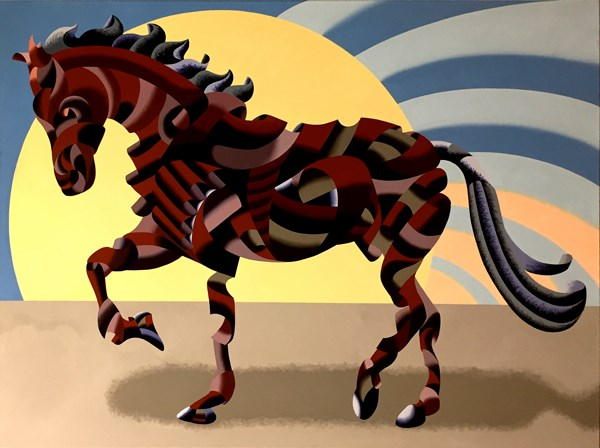 """""""Mark Webster - Abstract Geometric Futurist Horse Oil Painting"""" original fine art by Mark Webster"""