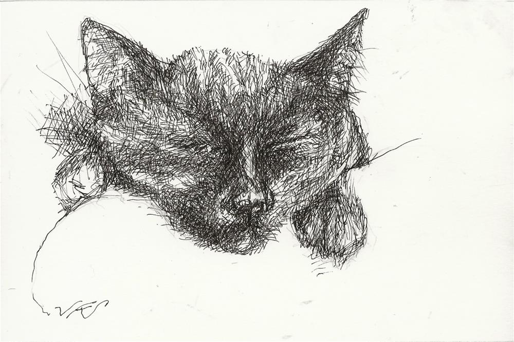 """Daily Cat 166"" original fine art by Jean Krueger"