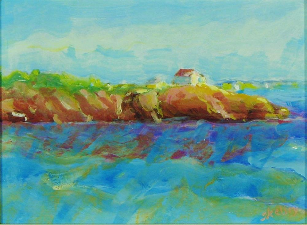 """Cottage on the Point"" original fine art by J Kelsey"