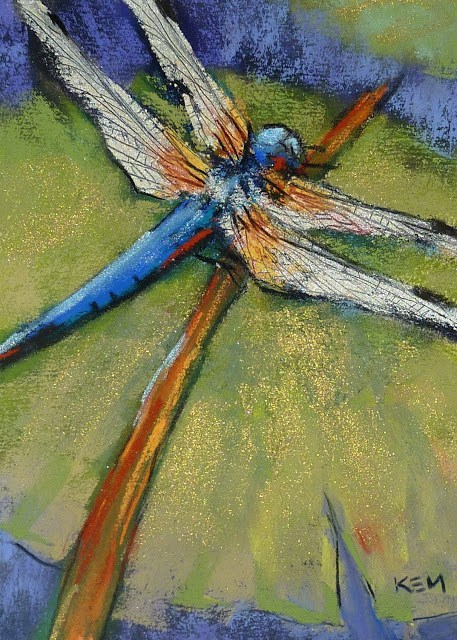 """How To Paint a Dragonfly with Pastels"" original fine art by Karen Margulis"