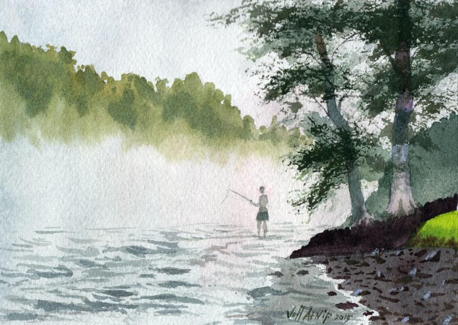 """River Fog"" original fine art by Jeff Atnip"