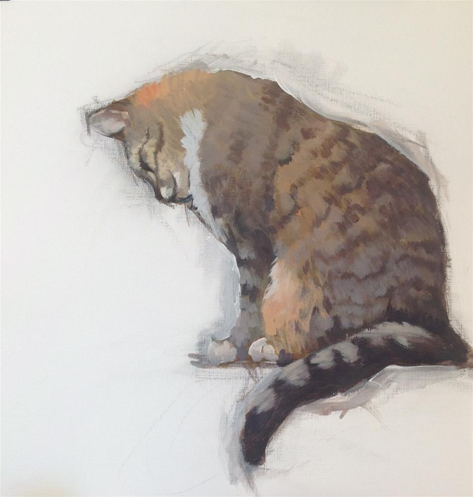 """""""Cat for mural painting"""" original fine art by Christine Bayle"""