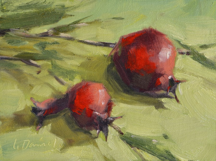 """Pomegranates on Green - Ten of 30 in 30"" original fine art by Laurel Daniel"