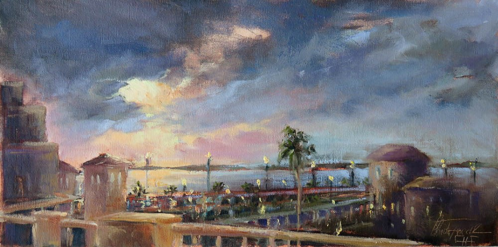 """""""Sunset from the roof of the Wyvern Hotel in Punta Gorda, Florida"""" original fine art by Christa Friedl"""