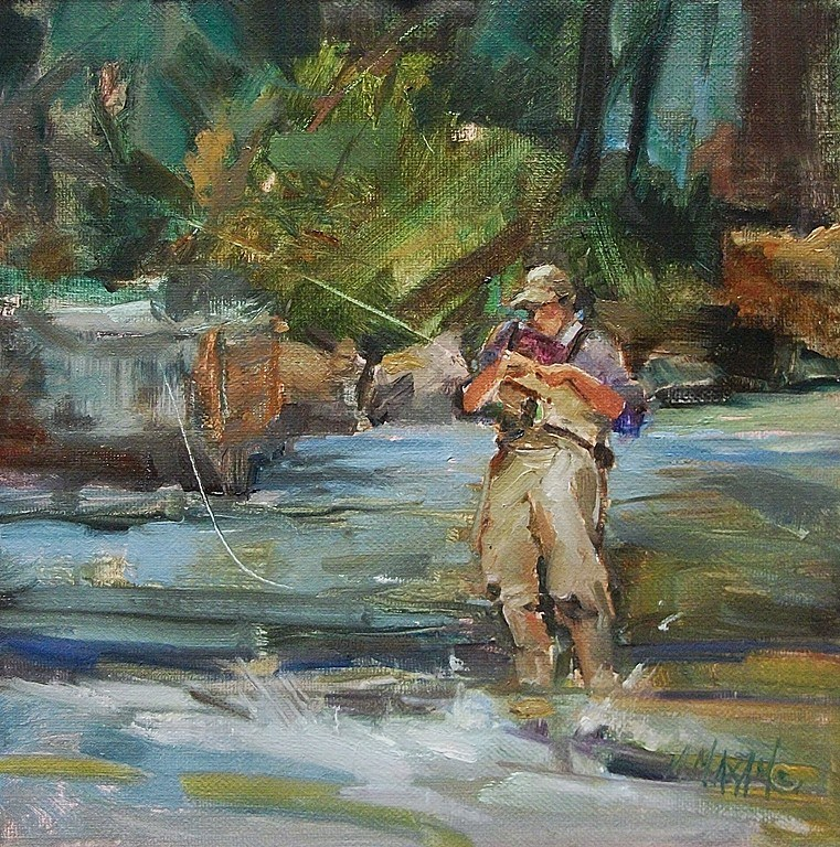 """""""Balancing Act - fly fishing and other plein air pursuits"""" original fine art by Mary Maxam"""