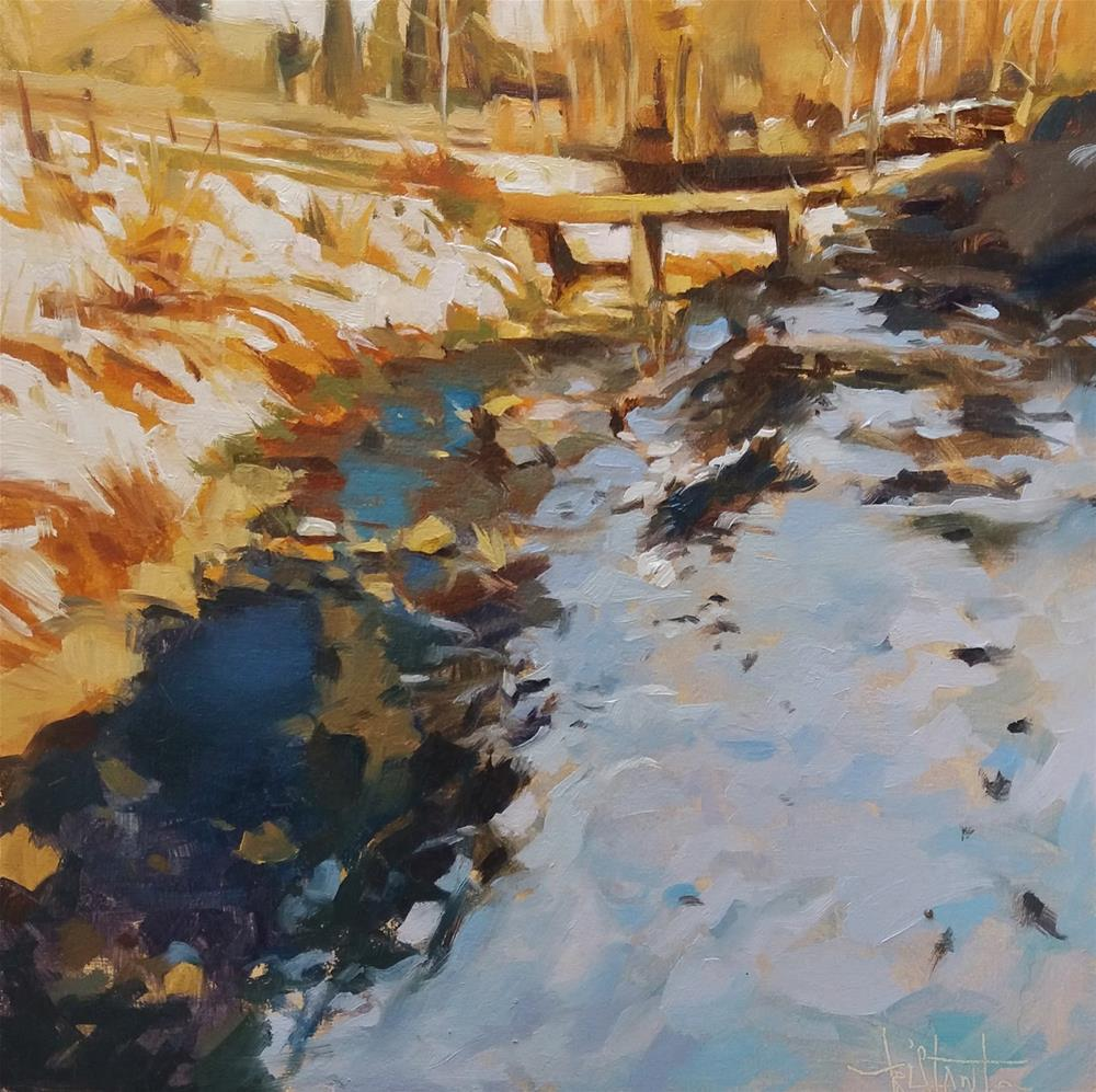 """Snowy river"" original fine art by Víctor Tristante"