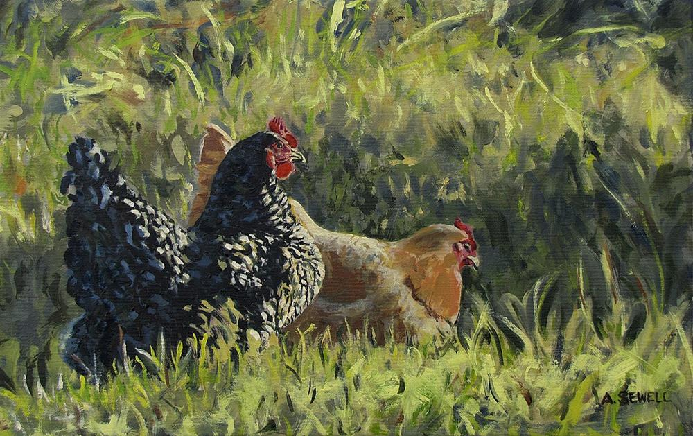 """""""Free Ranging Fowl - 12x19"""" original fine art by Andy Sewell"""