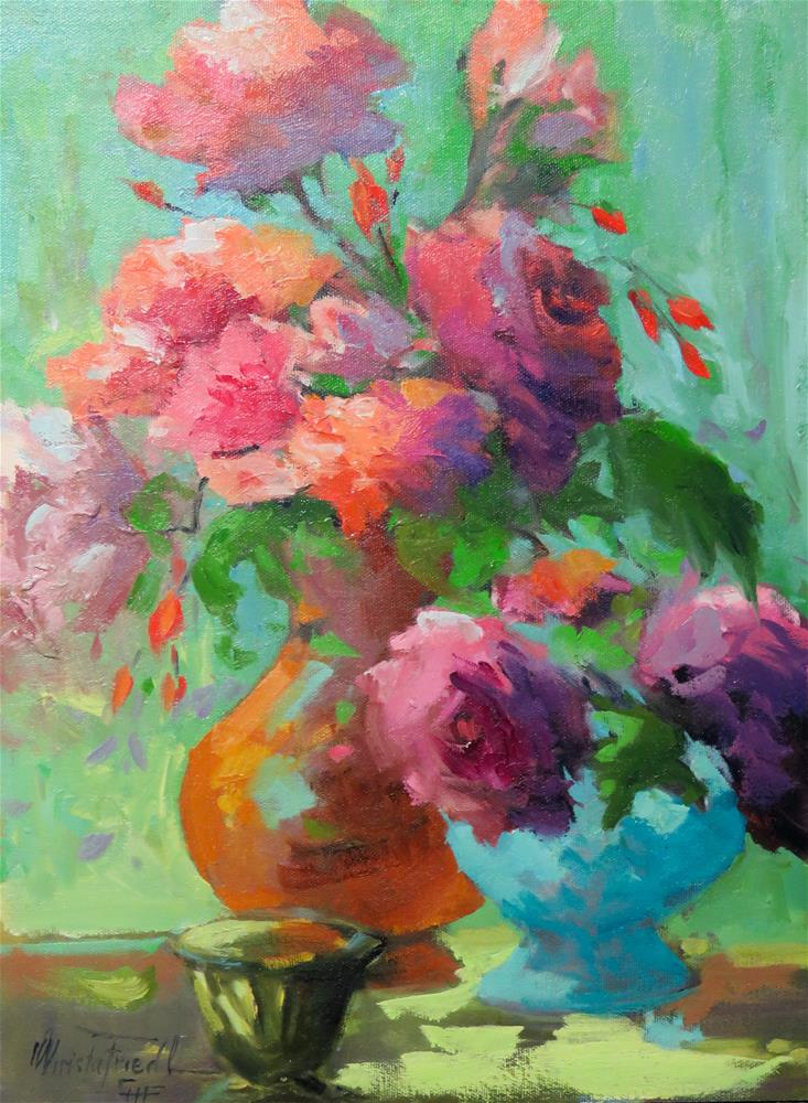 """Still life with terracotta vase"" original fine art by Christa Friedl"