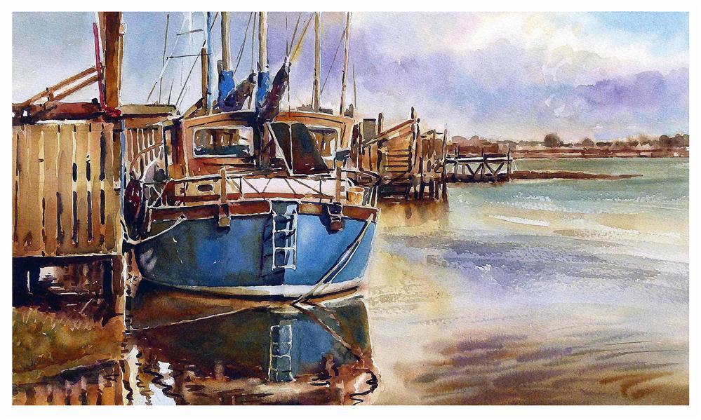 """Blue boat at Skippool"" original fine art by Graham Berry"