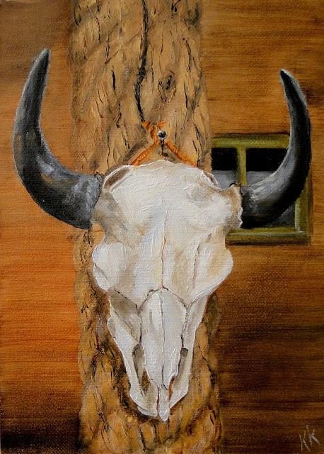"""Cow skull tied to a post"" original fine art by Karen Robinson"