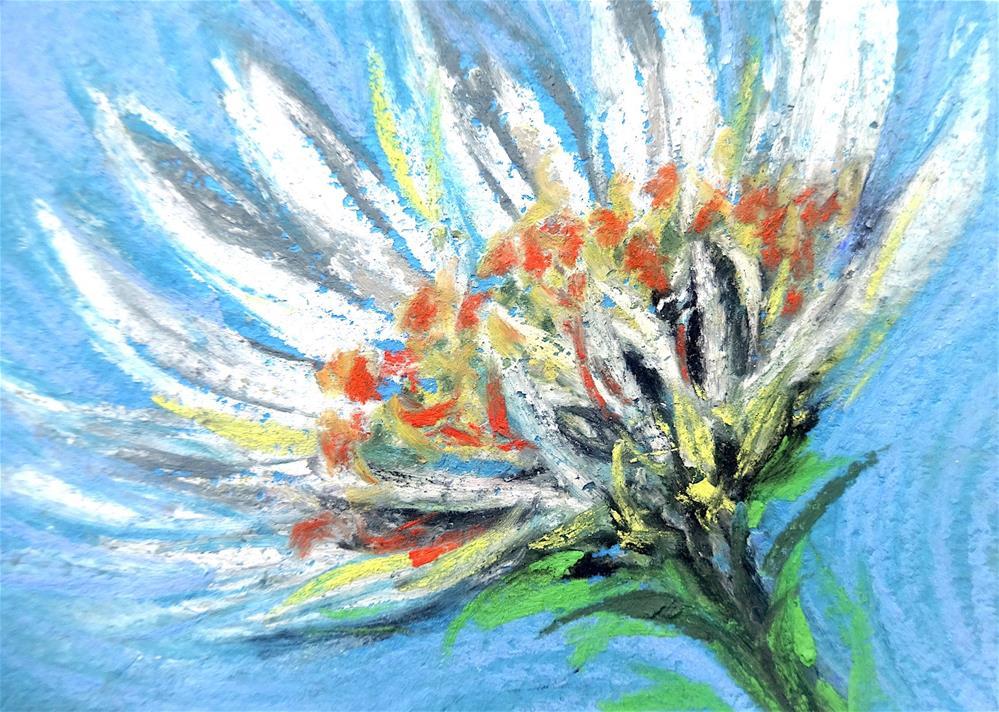 """""""6021 - WHITE DAISY ACEO"""" original fine art by Sea Dean"""