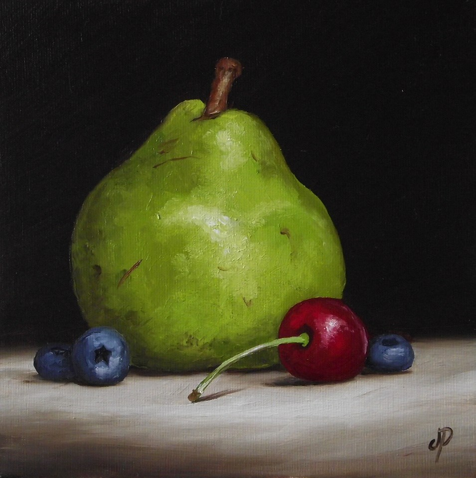 """Pear with cherry and blueberry"" original fine art by Jane Palmer"