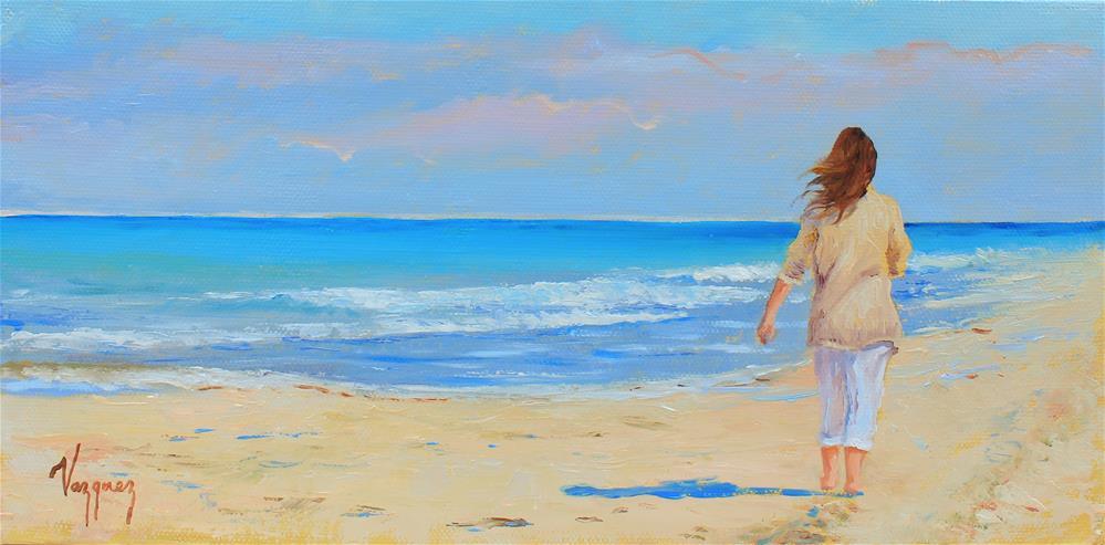 """""""Walking along the shore"""" original fine art by Marco Vazquez"""