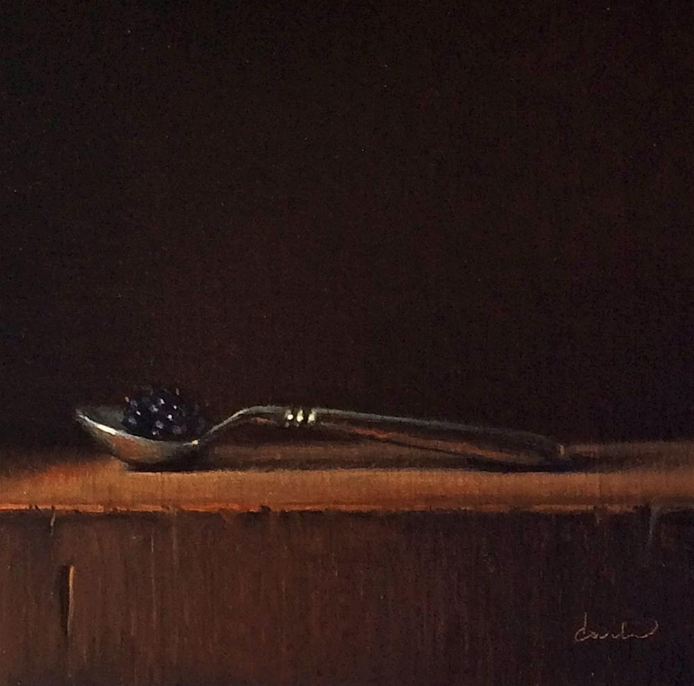 """""""Still Life with Spoon and Blackberry"""" original fine art by Darla McDowell"""