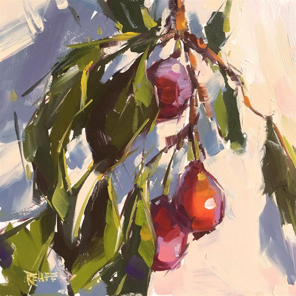 """Plum Harvest"" original fine art by Cathleen Rehfeld"